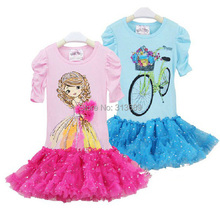 baby girls dress children costumes toddler clothing kid clothes Princess tutu pettidress blue Short sleeve roupa infantil robe(China)