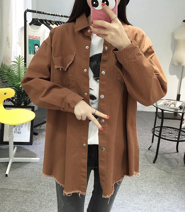 2018 Spring Autumn New Long Section Lapel Tassel Denim Jackets Women Loose Casual Long Sleeve Female\'S Thin Basic Jacket Coats (32)
