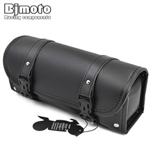 BJMOTO New Motorcycle PU Leather Front Fork Tool Bag Luggage Saddle Bag For Harley Chopper Bobber Cruiser Dyna Softail Sportster(China)