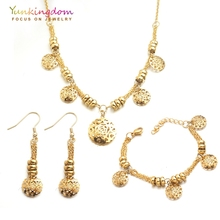 Yunkingdom Hollow Rose Flower Stainless Steel Jewelry Sets for Women Indian Bridal Choker Necklace Earring Bracelet Set UH0012