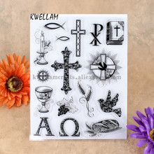 Cross Bible Candle Grape Scrapbook DIY photo cards account rubber stamp clear stamp transparent stamp 14x18cm KW7041402(China)
