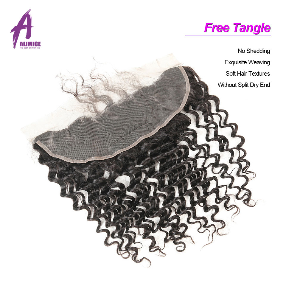 ALIMICE Hair Indian Deep Wave Hair 13X4 Ear To Ear Lace Frontal Closure 100% Non Remy Natural Color Human Hair Closure 10-24Inch (7)