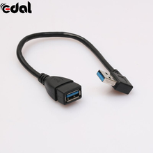 EDAL 1Pcs USB 3.0 Right Angle 90 Degree Extension Cable Male To Female Adapter Cord USB Cables Best Quality(China)