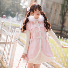 Candy rain Princess sweet lolita coat Wool tweed coat girls long winter sweet Department loose button woolen coat C22CD7276(China)