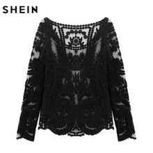 SHEIN Women Lace Tops Romantic Black Tees Round Neck Long Sleeve Hollow Out Lady Crochet Sheer Sexy Plain Blouse(China)
