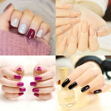 24 Pcs/lot French Acrylic False Fake Nail Art Fingernail Full Tips Solid Nails Patch Sticker Wholesale Colorful Style