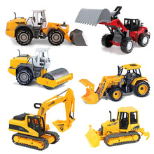 6 Style Inertial Car Construction Vehicle Engineering Car Excavator Cars Doll Boys Gifts Toys Christmas Present For Children #E