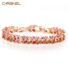 CARSINEL Luxury Mona Lisa Rose Gold color Bracelet for Women Leaves Shape AAA CZ Zircon Bracelets Fashion Jewelry Br0124