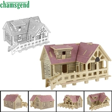 CHAMSGEND Modern Romantic cabin 3d jigsaw puzzle toys wooden adult children's intelligence toys For Kids Children  Feb15