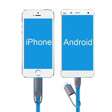 2 in 1 flat cable for lightning micro USB cable charging data sync charger cable for iPhone 7 6S plus SAMSUNG HUAWEI phone cable