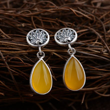 Natural Yellow chalcedony Earring 925 Silver Women Popular Phoenix S925 Thai Sterling Silver boucle d'oreille Drop Earrings