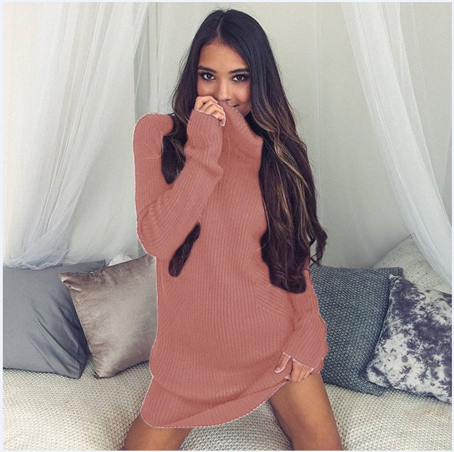 Turtleneck Long knitted pullover sweater, Women's Jumper, Casual Sweater 32