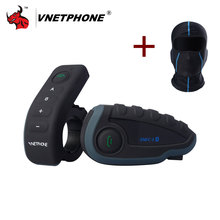 VNETPHONE V8 1200M Bluetooth Intercom Motorcycle Helmet Interphone Headset NFC Remote Control Full Duplex+FM Including One Mask(China)