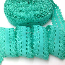 "Quality Green Lace Trim, 3/4"" Picot Edges Lace Elastic Ribbon, Frilly Edges Elastic for DIY Headwear Hair Accessories 10Y/lot(China)"