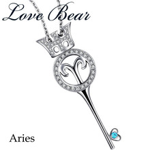 "LOVE BEAR 2017 New Arrival Free Shipping Womens' Fashion 925 Sterling Silver ""Heart Key"" Horoscope Series Pendants With Zircon"