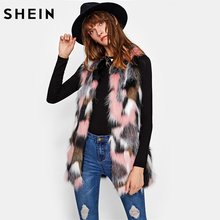 SHEIN Hidden Pocket Colorful Faux Fur Vest Ladies Multicolor Collarless Sleeveless Women Coat Autumn Elegant Vests(China)