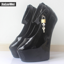 2017 20cm High Heels Women Exotic Fetish Wedge Ballet Boots Patent Leather Padlocks Pointed toe Party Pumps Woman Platform Shoes(China)