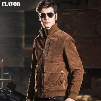 2016 Hommes veste en cuir véritable peau de porc de Cuir Véritable veste hommes chaud en cuir manteau rembourrage coton