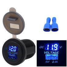 2017## 0.18W 5V 2.1A USB Charger Socket Adapter Voltmeter Outlet For 12V 24V Motorcycle Car &Wholesale