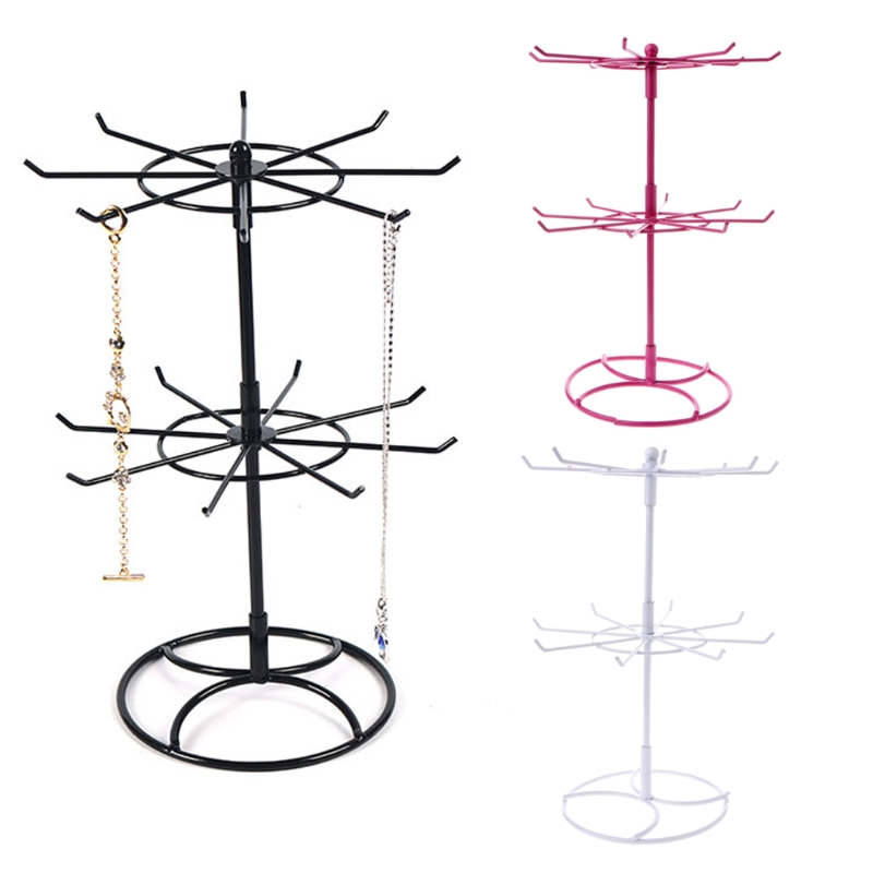 Metal Necklace Bracelet Chain Rotation Hanging Jewelry Display Rack Stand Holder T52(China)