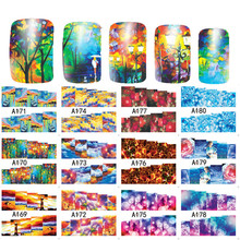 SWEET TREND 12 Designs in 1 Creative Painting Nail Art Water Decals Transfer Stickers Manicure Beauty Full Wraps LAA169-180