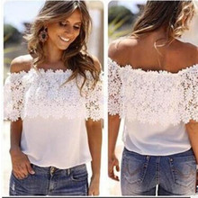 Euro 2017 new word collar lace ordinary women temperament womenChiffon shirt printing off the shoulder only beautiful in summer