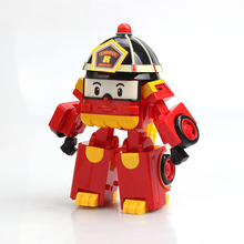 Korea Cartoon Robot Clan Plastic Deformation Red Fire Truck Roy Educational Toys For Children