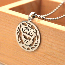 2015 New Products Stainless Steel Owl Charm Necklace Cute Owl Pendant Necklace Latest Design Best Gift(China)
