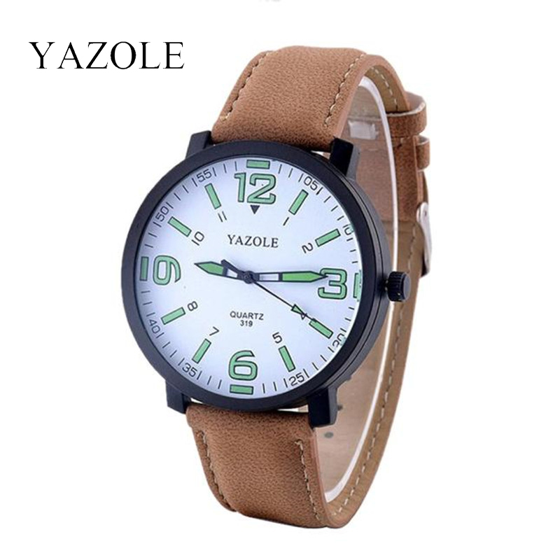 2017 New Fashion Casual Mens Watches Top Brand Luxury YAZOLE Business Watch Men Leather Quartz Army Wrist Watches Mens watch<br><br>Aliexpress
