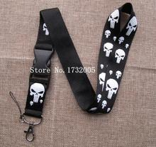 New 1 pcs Superhero Punisher Skull  Removable Cello Phone key Chain Neck Strap Keys  Lanyards Free Shipping Y-