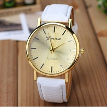 New Golden Geneva Platinum Watch Woman Fashion PU Leather Casual Dress women wristwatch Girl Fashion Watch