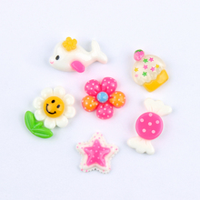 30PCS Colorful Mix Color Resin Hot Selling Miniature Flowers Candy Fish Resin Cabochons for Phone Deco, Jewelry Accessory DIY(China)