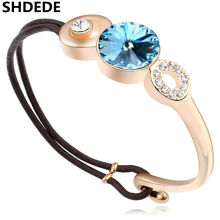 Leather Bracelets For Women Champagne Color Vintage Style Bracelet Crystal from Swarovski Female Birthday Gift 15758