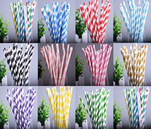 25pcs/lot Colorful Chevron Striped Paper Drinking Straws Creative Drinking Straw Wedding Decor Birthday Bar/Pub Chirstmas Prom(China)