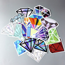 18Pcs/lot Transparent Diamonds Design Stickers For Snowboard Car Laptop Luggage Skateboard Motorcycle Decal Stickers(China)
