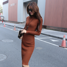Women Autumn Winter Warm Sweater Dresses Slim Turtleneck Knitted Midi Dress Sexy Bodycon Robe Dress Female Solid Color Red Black