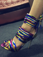 2017 newest Sexy woman night club sandal shoes open toe colorful narrow band sandals color matching stiletto high heel sandals