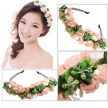 Hot Sale Fashion Wedding Party Prom Head band  Festival Decor Princess Floral Wreath Headpiece Flower Garland Bride Headband