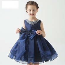 2016 new style summer Girls princess gown children hand-sewn bead collar navy blue white wedding formal dress of girls Big Size(China)