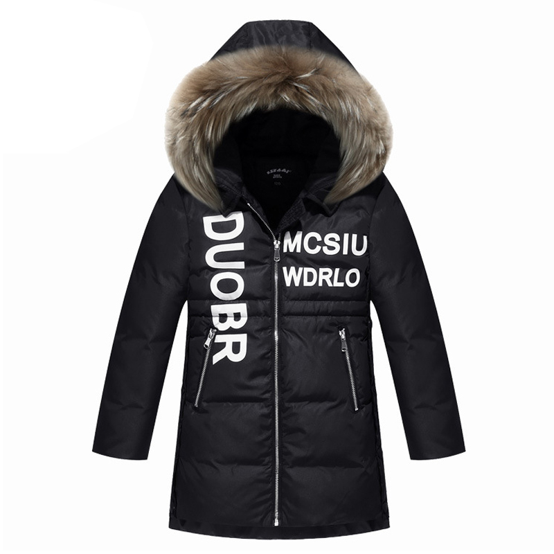 Top Quality!2017 Girls Real Raccoon Fur Collar Quilted Waterproof Duck Down Jacket Outwear Children Kids Brand Winter Warm Coat<br>