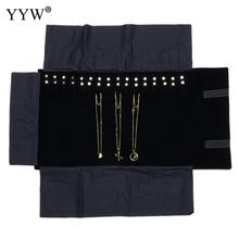 Black Velvet Case For Jewelry Storage Organizer Portable Roll-Up Pouch For Hanging 16 Chain Necklace And Braclet Jewelry Bag(China)