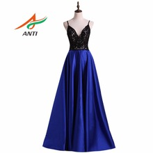 ANTI Luxury Formal Dresses Evening Gown Satin Elegant Women Dress for Wedding Party Sashes Beading Crystals Imported Prom(China)