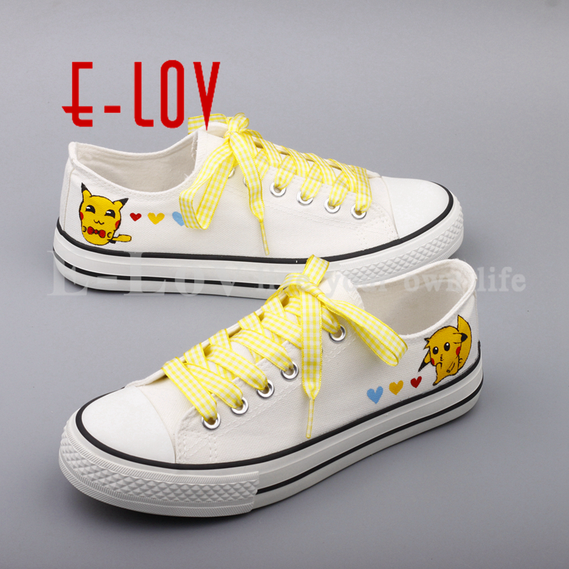 E-LOV Latest Women Girls Graffiti Canvas Shoes Hand Painted Anime Casual Flats Shoes Plus Size Free Shipping<br>