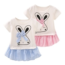 Summer Lolita Style Good Quality Infant Baby Girls Dress Mini Character Plaid Dresses Girls Children Rabbit Print Clothes