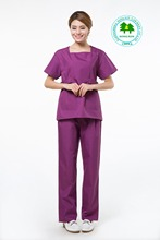 Free Shipping OEM scrub sets red square collar lab coat hospital workwear uniforme medico hot selling