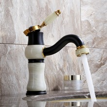Luxury black and gold Solid brass Jade stone waterfall Bathroom Sink Faucet Basin Vanity Mixer Tap