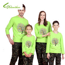 2017 New Design Family Clothing Spring Autumn Long Sleeve Trees Printed Father Daughter Girl Boy T-shirt Family Matching Clothes