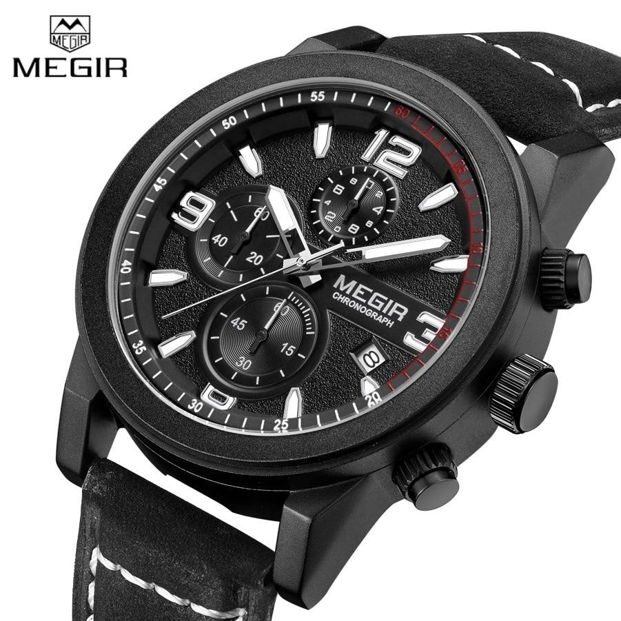 2016 MEGIR Sports Chronograph Mens Watches Top Luxury Brand Quartz Watch Casual Clock Men Genuine Leather Strap Reloj Hombre <br>