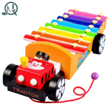 MQ 8 Scales Cartoon Car Trailer Xylophone Hand Knock Piano Wooden Educational Toy for Baby Kids Chilrden