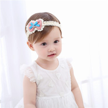 2017 Fashion Girl Headwear Cloth Lace Soft Kids Hair Band Flower Big Bow Elastic Head Wrap Band Bow Knot Kids Head Accessories(China)
